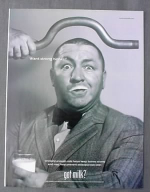 "Curly Howard in a ""Got Milk"" Ad"