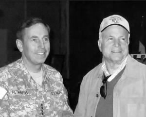 McCain in Baghdad with General David Petraeus, 2007