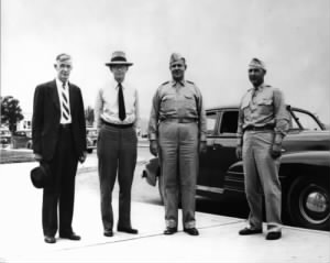 Vannevar Bush, James B. Conant, Major General Leslie Groves and Colonel Franklin Matthias