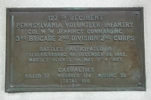 127th Pennsylvania Plaque