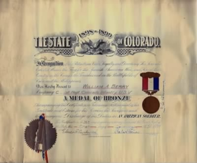 William Anthony Berry Certif No. 363 Medal of Bronze. Org owner is my Uncle Marc Arthur