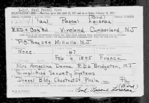 Paul Pascal Loiseau (Bird) WWII  Old Man's Draft  Registration Cards = Page 1.jpg