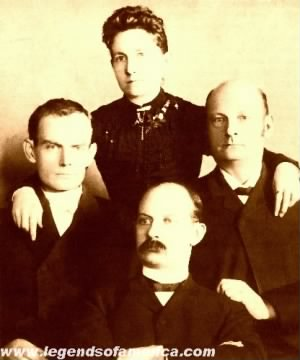 Bob, Jim, and Cole Younger with sister Henrietta.jpg