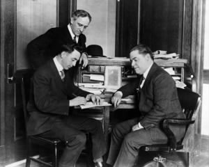 Boston Red Sox player-manager Jack Barry signs his 1917 contract.jpg