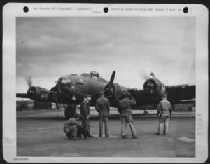 Completion of 50th successful mission with raid on Berlin March 1944.jpg