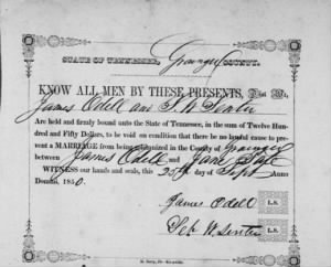 James Odell to Jane Tate 1850 Grainger Co Marr Bond.JPG
