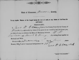 W W Wallace 1847 to Sarah C King Marr License.jpg