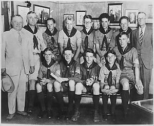 Gerald R. Ford, Jr. poses with other Eagle Scouts and Michigan Governor Fred Green .gif