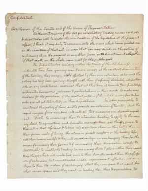 Jefferson Message to Congress RE: Lewis and Clark Expedition - Page 1