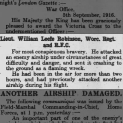 William Leefe Robinson, the first man to shoot down a Zeppelin