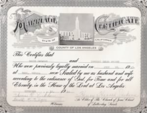 David & Dorothy  Naranjo marriage cert.