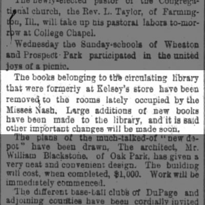 More Early Roots of Wheaton (IL) Public Library