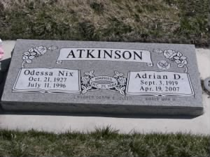 Adrian and Odessa Atkinson Headstone