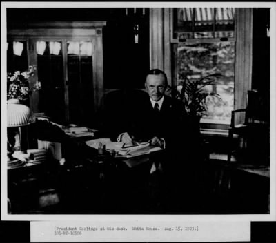 President Coolidge at his desk, White House, Washington, D. C. › Page 1 - Fold3.com