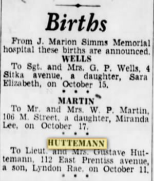 Huttemann, Gustave_Greenville News_SC_Sun_24 Oct 1943_pg 16.JPG
