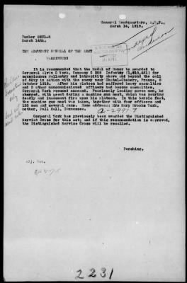 """Telegram recommending """"that the Medal of Honor be awarded to Corporal Alvin C York"""""""
