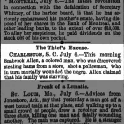 Death Notice: Charleston, SC. Seabrook Allen was mortally wounded July 6th