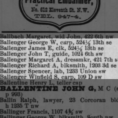 BALLENGER'S in the Washington DC directory
