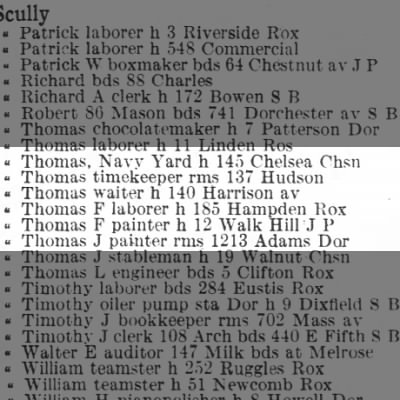 1912 Thomas F Scully still owns 12 Walk Hill