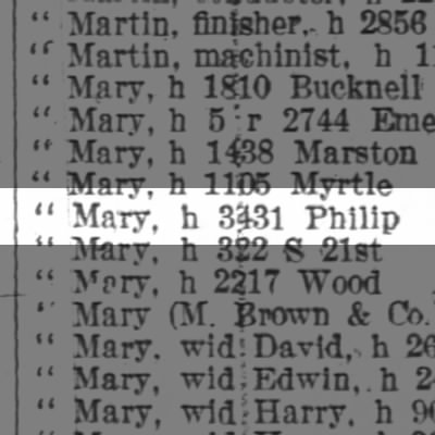 Brown Mary, h 3431 Philip