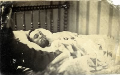 Private Lewis Simpson Probably on his Death Bed-Courtesy of Frazier Farmstead Museum - Fold3.com