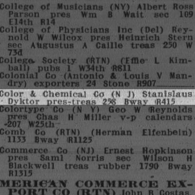 color and chemical co.(NJ) stanislaus dyktor pres-tres 256 broadway